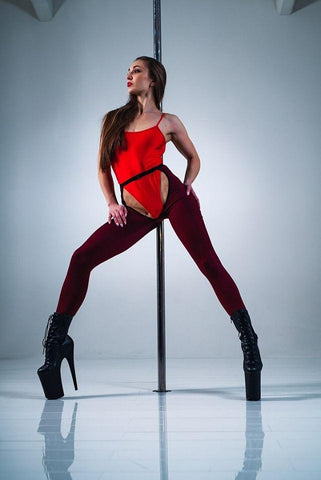 High Waisted Chaps - Wine-Hamade Activewear-Pole Junkie