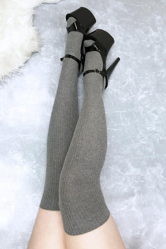 Thigh High Socks - Light Grey Sparkle-Luna Pole Wear-Pole Junkie