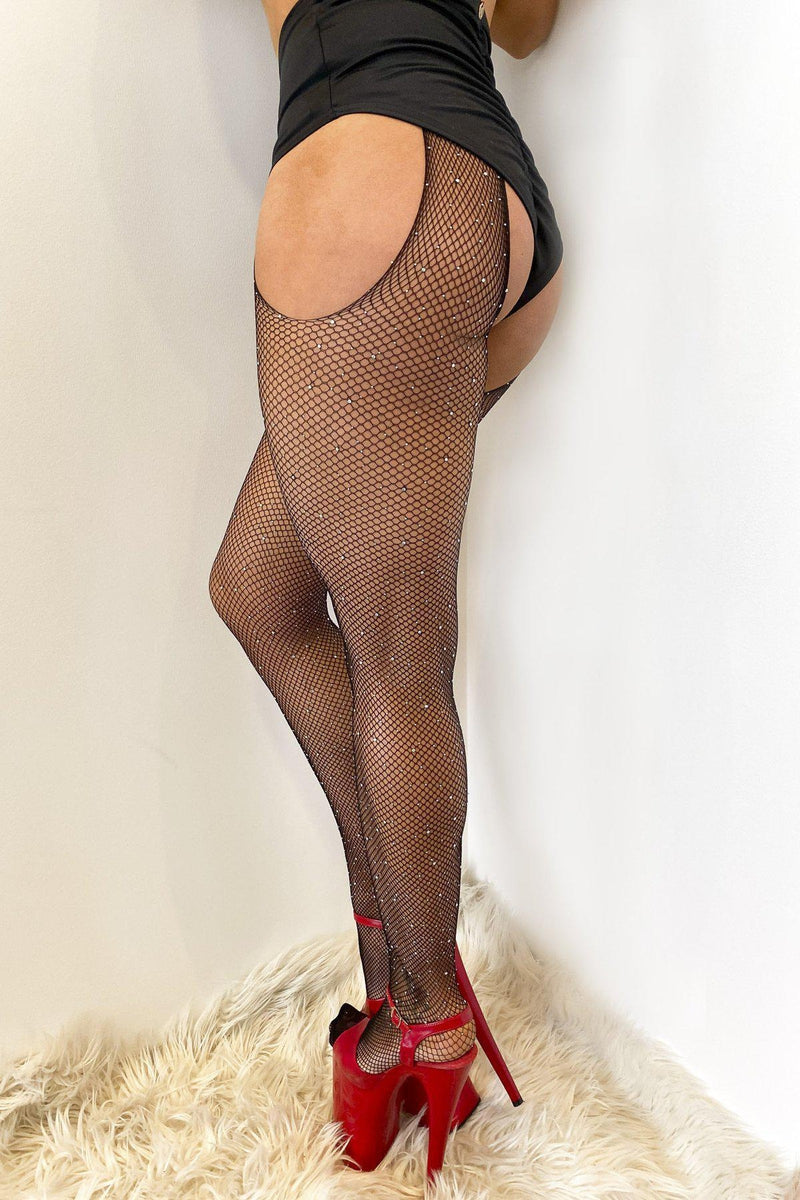 Lunalae Fishnet Garter Diamante Stocking - Black-Lunalae-Pole Junkie
