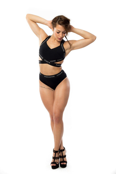 High Waist Logo Shorts - Black-Paradise Chick-Pole Junkie