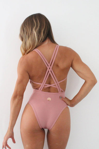 Olra Activewear Signature Bodysuit - Dusty Pink-Olra Activewear-Pole Junkie