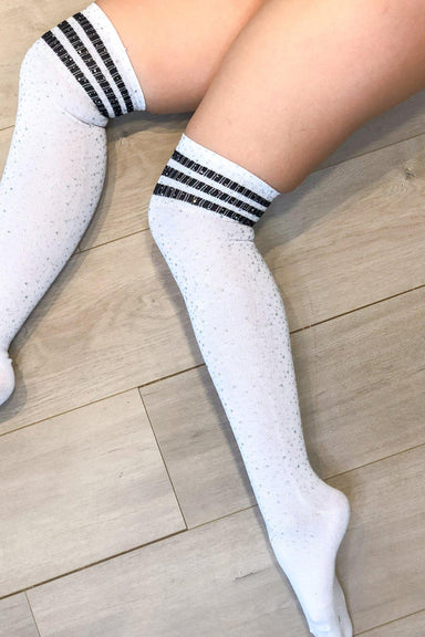 Lunalae Thigh High Diamonte Socks - White/Black-Lunalae-Pole Junkie