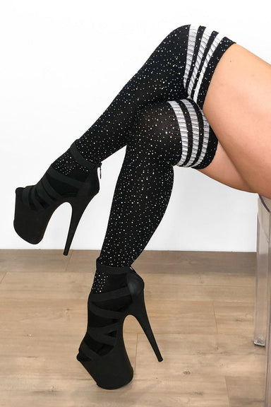 Lunalae Thigh High Diamonte Socks - Black/White-Lunalae-Pole Junkie