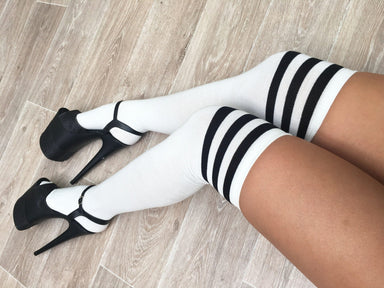Lunalae Thigh High Socks - White/Black-Lunalae-Pole Junkie