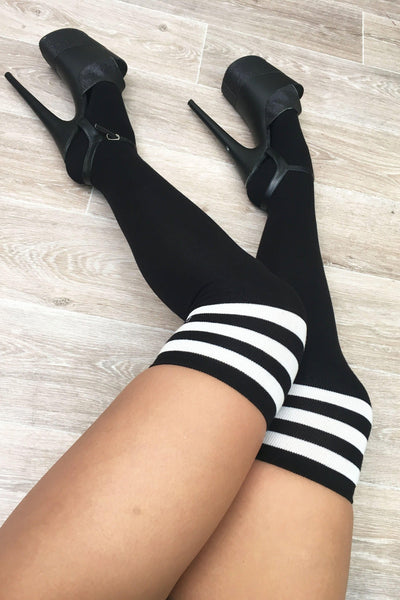 Thigh High Socks - Black/white-Luna Pole Wear-Pole Junkie