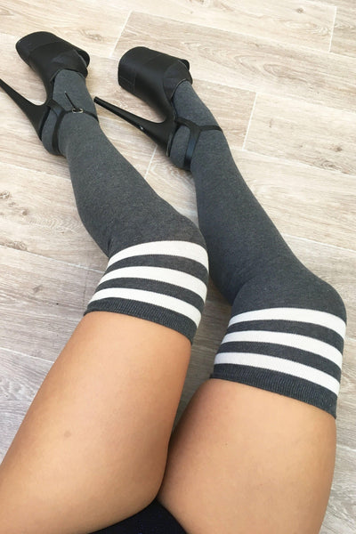 Thigh High Socks - Charcoal/white-Luna Pole Wear-Pole Junkie