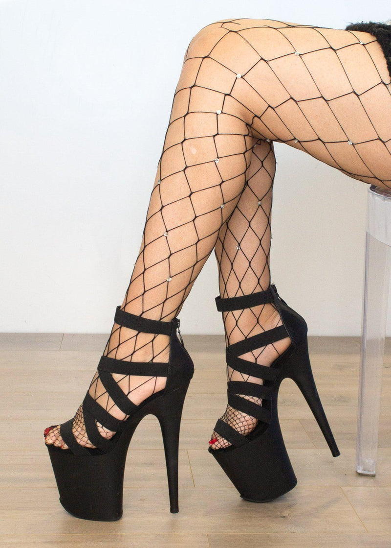 Lunalae Large Net Fishnet Diamanté Stockings - Black-Lunalae-Pole Junkie