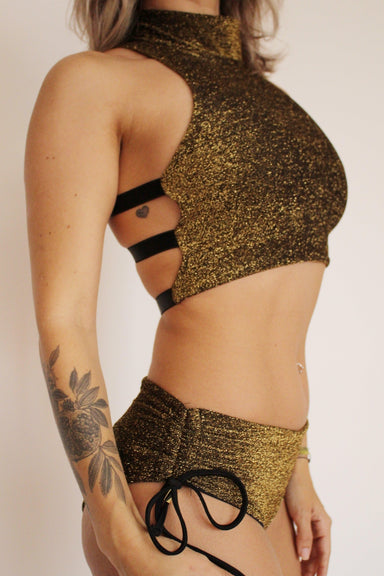 Sorte Charm Top - Gold-Sorte-Pole Junkie