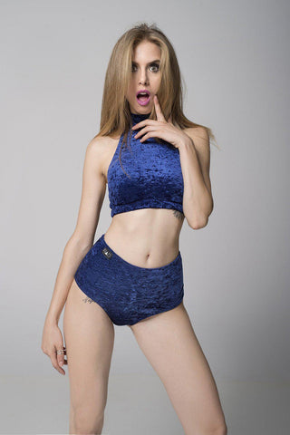 Velvet Eve Top - Navy Blue-RAD-Pole Junkie