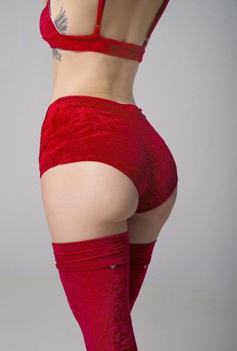 Velvet Eve Shorts - Red-RAD-Pole Junkie