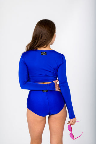 Long Sleeve Top - Royal Blue-Shark Polewear-Pole Junkie