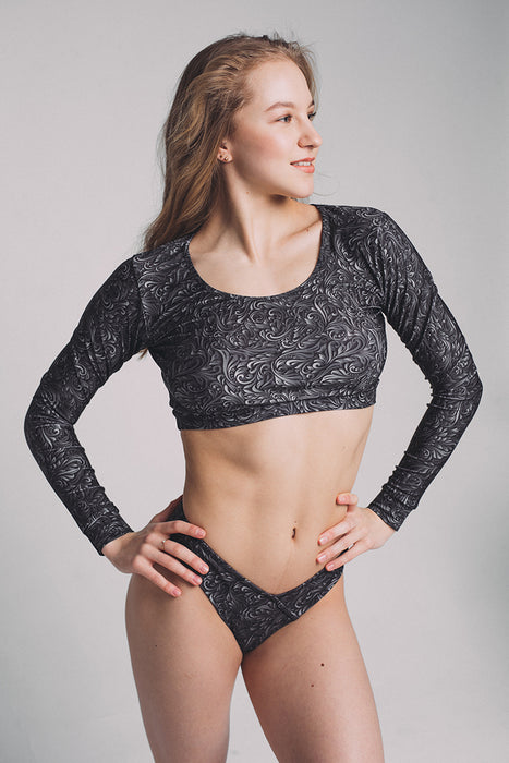 Long Sleeve Top - Black Swirl-Shark Polewear-Pole Junkie