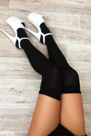 Thigh High Socks - Black-Luna Pole Wear-Pole Junkie