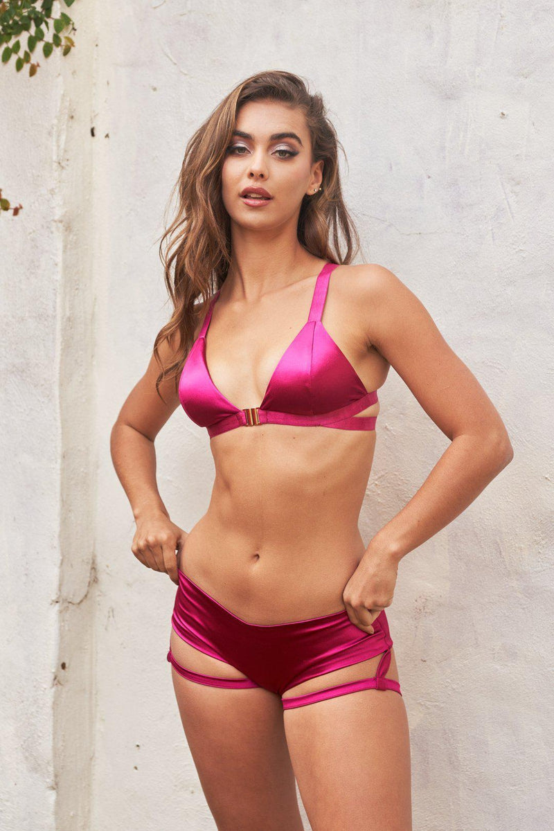 Lunalae Lure You Low-Rise Garter Shorts - Satin Magenta-Lunalae-Pole Junkie