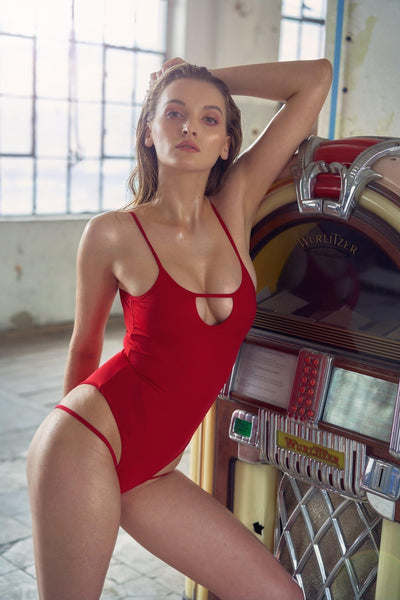 Hollow Front Bodysuit - Red-Hamade Activewear-Pole Junkie