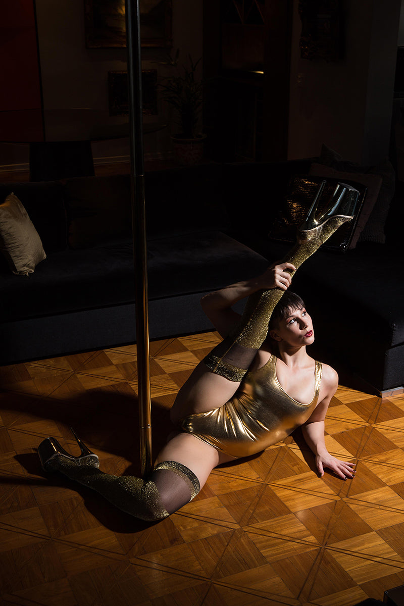 Rolling D'Or Gold Over the Knee Socks-Rolling-Pole Junkie