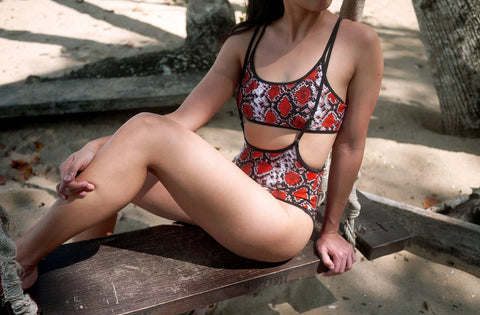High Waisted Sling Bottoms - Desert Snake Print-Hamade Activewear-Pole Junkie
