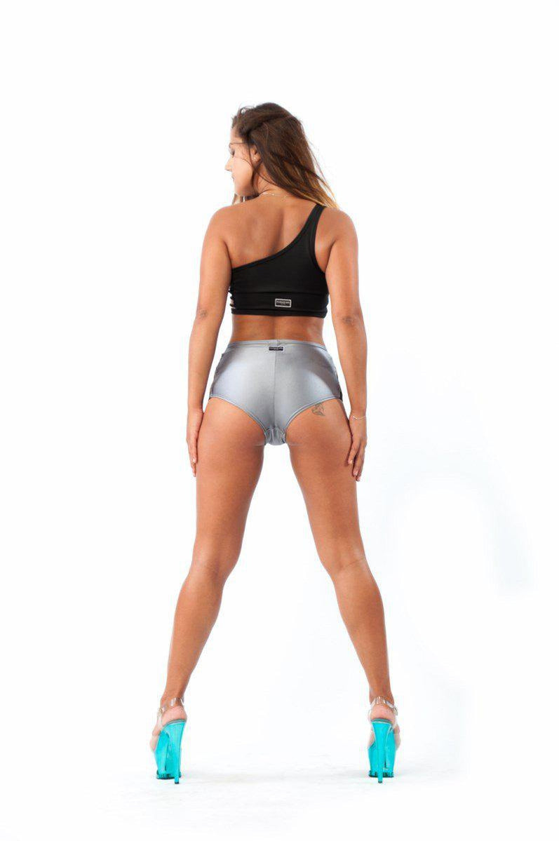 Paradise Chick High Waisted Shorts - Grey-Paradise Chick-Pole Junkie