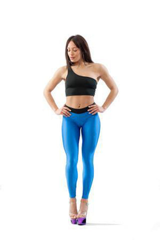 V-String Leggings - Blue-Paradise Chick-Pole Junkie