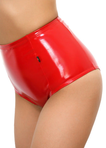 Heroine Liquid High Waisted Shorts - Red-Cleo the Hurricane-Pole Junkie