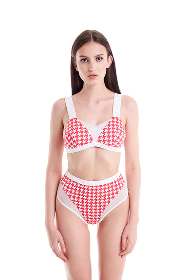 Hamade Activewear Houndstooth High Waist Bottoms - Red/White-Hamade Activewear-Pole Junkie