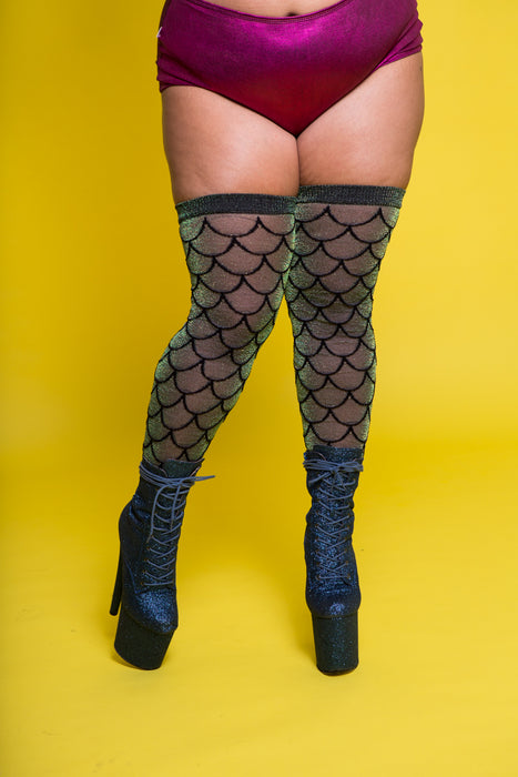 Siren Over the Knee Socks - Iridescent Green (3 Sizes Available)-Rolling-Pole Junkie