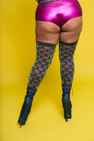 Rolling Siren Over the Knee Socks - Iridescent Green (3 Sizes Available)-Rolling-Pole Junkie