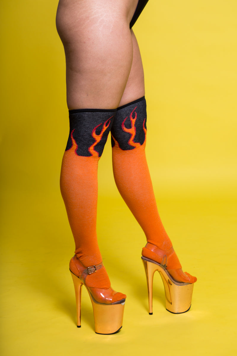 Rolling Flame Over the Knee Socks (3 Sizes Available)-Rolling-Pole Junkie