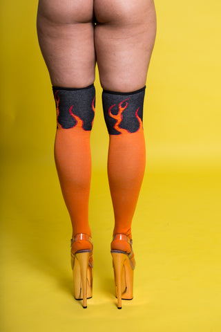 Flame Over the Knee Socks (3 Sizes)-Rolling-Pole Junkie