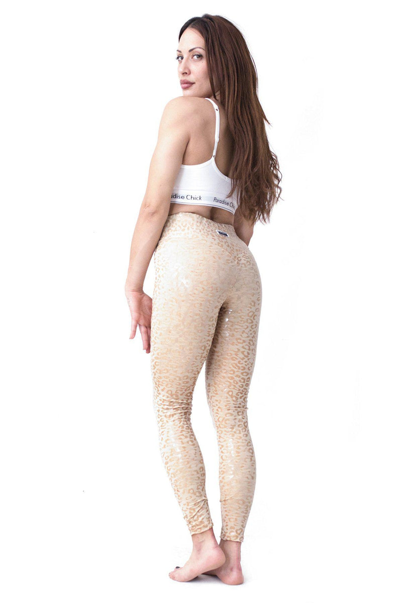 Paradise Chick Superhero Series Sticky Leggings - Sand Leopard-Paradise Chick-Pole Junkie