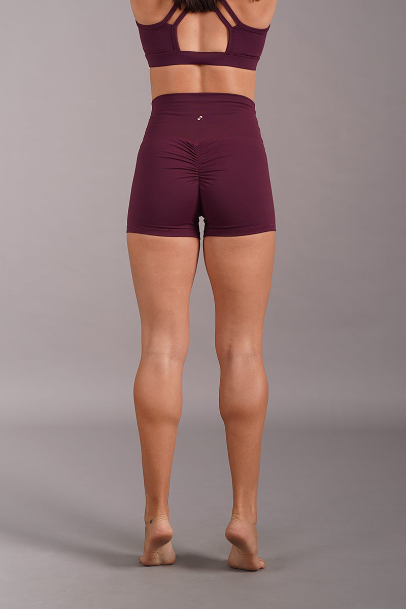 Off The Pole Scrunch Butt Shorts - Burgundy-Off The Pole-Pole Junkie