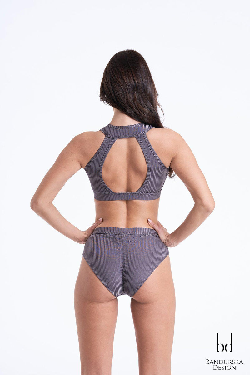 Bandurska Sienna High Waist Bottoms - Ribbed Dark Grey-Bandurska-Pole Junkie