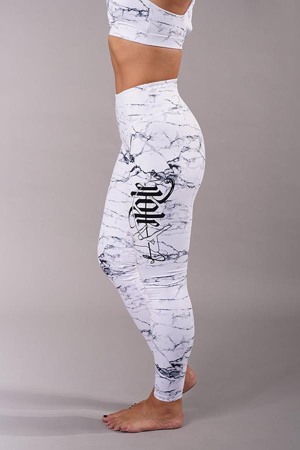 Off The Pole Signature Leggings - White Marble-Off The Pole-Pole Junkie