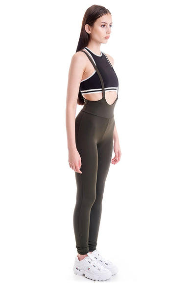 Hamade Activewear High Waisted Sling Leggings - Army Green-Hamade Activewear-Pole Junkie