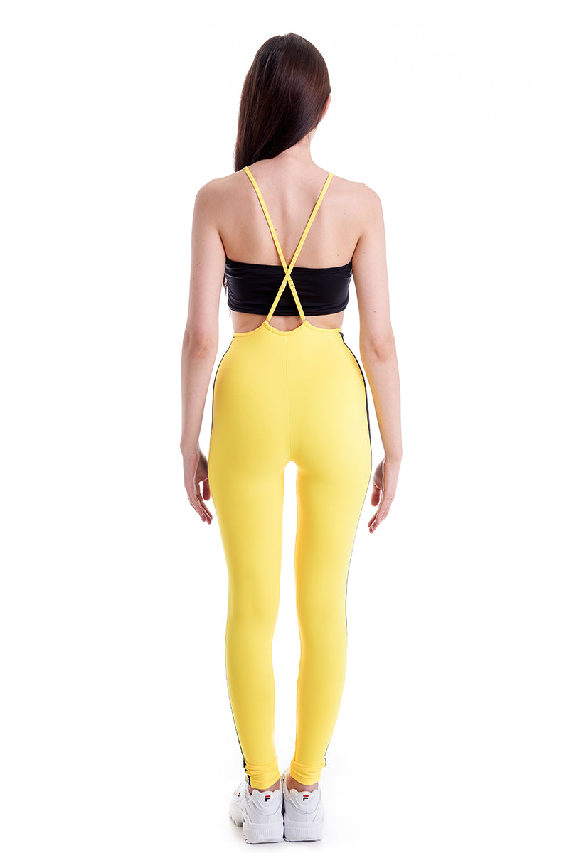 Hamade Activewear High Waisted Sling Leggings - Yellow-Hamade Activewear-Pole Junkie