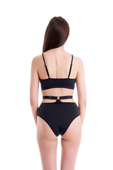Hamade Activewear High Waist O-Ring Bottoms - Black-Hamade Activewear-Pole Junkie