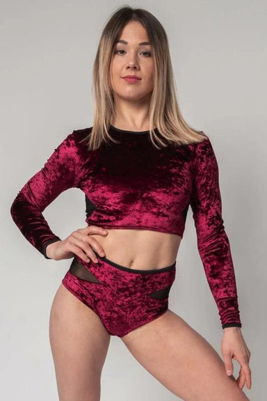Paradise Chick Long-Sleeve Velvet Top - Burgundy-Paradise Chick-Pole Junkie