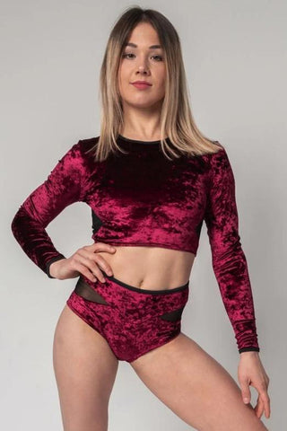 Long-Sleeve Velvet Top - Burgundy-Paradise Chick-Pole Junkie