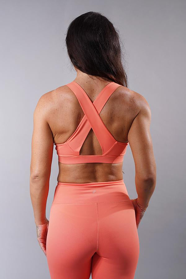 Off The Pole V-Neck Sports Bra - Peach-Off The Pole-Pole Junkie