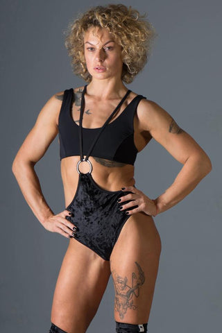 Womankini Velvet Shorts - Black-Paradise Chick-Pole Junkie