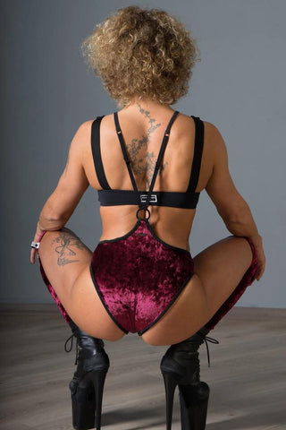 Womankini Velvet Shorts - Burgundy-Paradise Chick-Pole Junkie