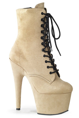 Pleaser USA Adore-1020FS Faux Suede 7Inch Pleaser Boots - Beige-Pleaser USA-Pole Junkie