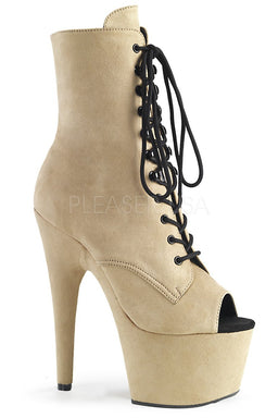 Pleaser USA Adore-1021FS Faux Suede 7Inch Pleaser Peep Toe Boots - Beige-Pleaser USA-Pole Junkie
