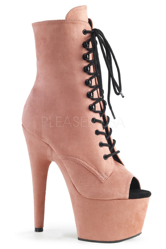 Adore-1021FS 7Inch Pleaser Peep Toe Boots - Dusty Pink Faux Suede-Pleaser USA-Pole Junkie