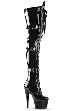 Pleaser USA Adore-3028 7inch Thigh High Pleaser Boots - Patent Black-Pleaser USA-Pole Junkie