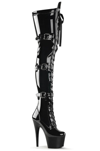 Adore-3028 7inch Thigh High Pleaser Boots - Patent Black-Pleaser USA-Pole Junkie
