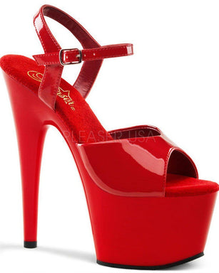 Pleaser USA Adore-709 Patent 7inch Pleasers - Red-Pleaser USA-Pole Junkie