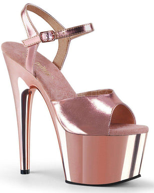 Pleaser USA Adore-709 Metallic/Chrome 7inch Pleasers - Rose Gold-Pleaser USA-Pole Junkie