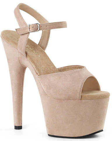 Adore-709FS Faux Suede 7inch Pleasers - Beige-Pleaser USA-Pole Junkie