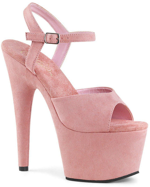Adore-709FS Faux Suede 7inch Pleasers - Baby Pink-Pleaser USA-Pole Junkie